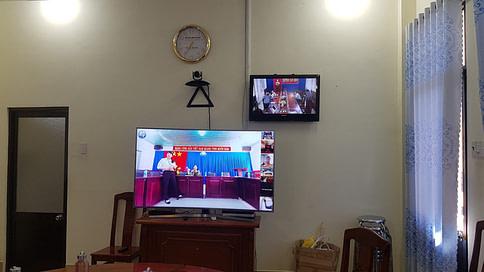 Hình ảnh điểm cầu tích hợp Polycom UBND huyện Tân Biên